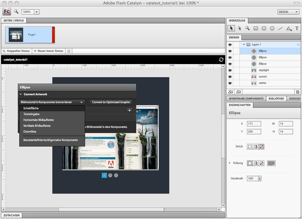 Adobe Flash Catalyst - Formen in Schaltflächen konvertieren