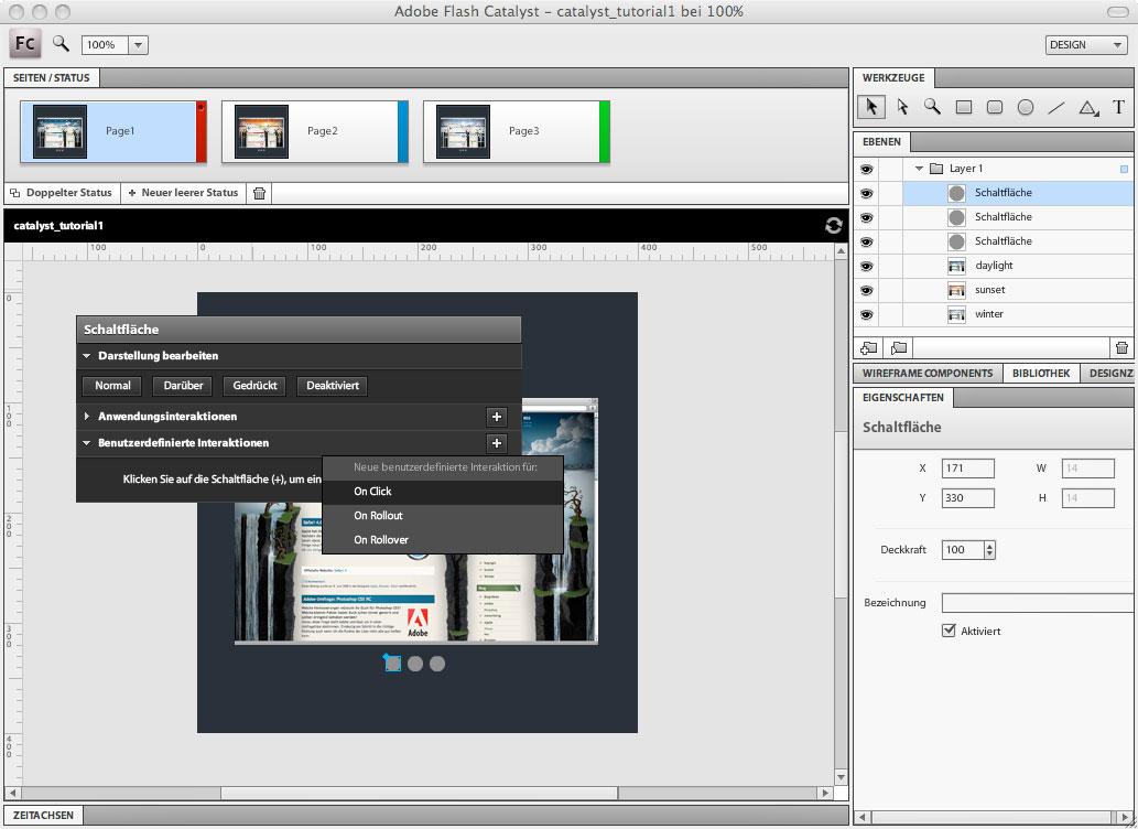 Adobe Flash Catalyst - Benutzerdefinierte Interaktionen