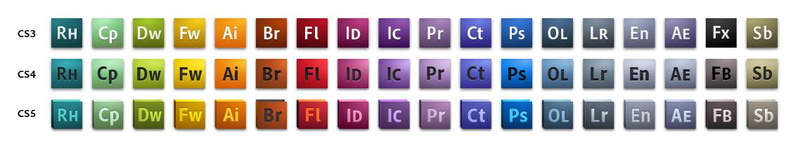 Adobe Creative Suite 5 Icons - CS3, CS4, CS5