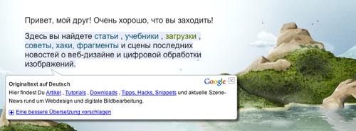 Mit Google Translate übersetzte Website