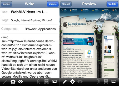 WordPress Artikelvorschau im iOS auf dem iPhone