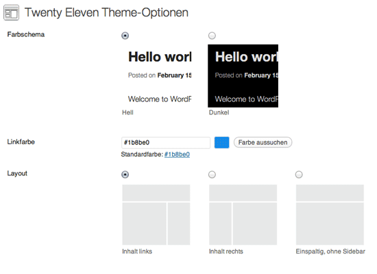 Theme Options-Page in WordPress-TwentyEleven