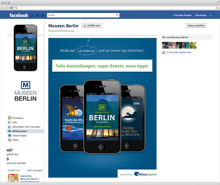 Startseite der Facebook-Seite von Museen Berlin