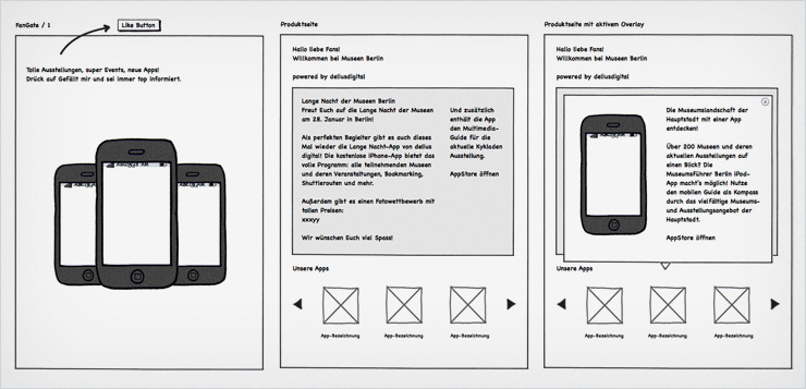 Mockup der Fanpage-Inhalte, Erstellt in Balsamiq Mockup