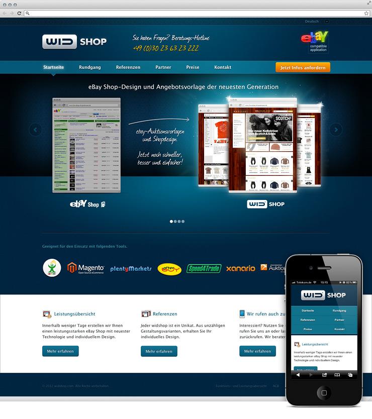 Startseite von Widshop mit iPhone-Ansicht