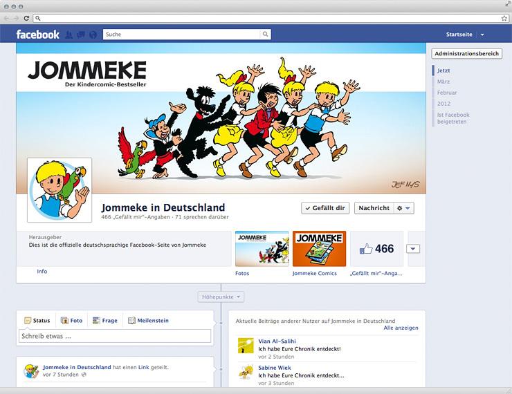 Fanpage-Startseite von Jommeke