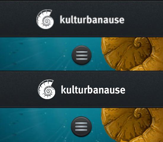Mobile Ansicht von kulturbanause mit Retina-Logo und -Button