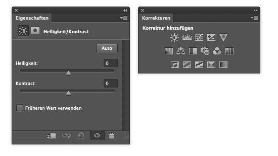 Photoshop CS6 - Eigenschaften Bedienfeld und Korrekturen