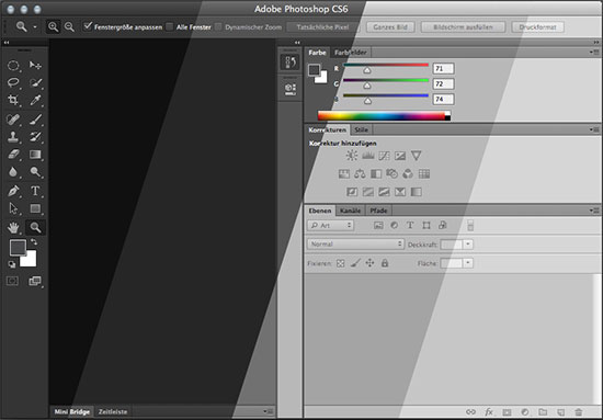 Photoshop CS6 - Das Interface in vier Helligkeitsstufen