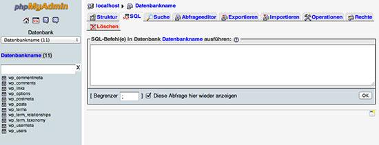 phpMyAdmin SQL Section