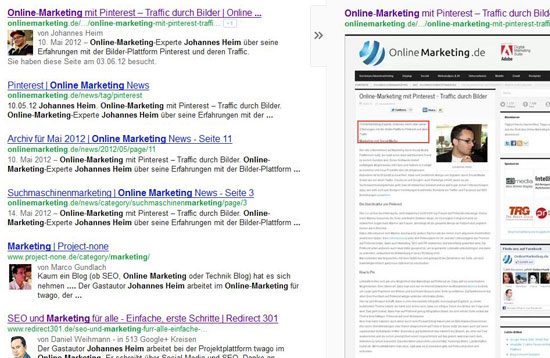 Suchergebnisse von Google mit rel=author Verknüpfungen