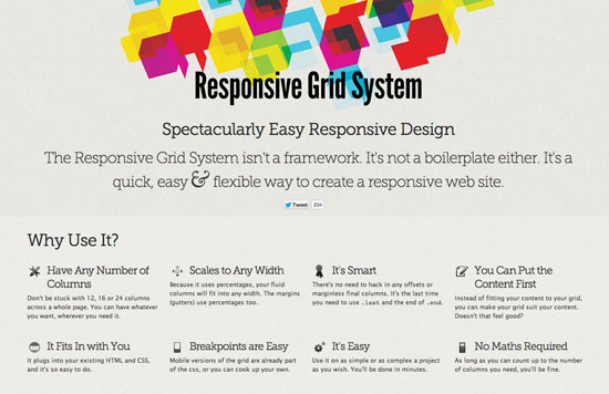 Screenshot der Website von Responsive Grid System