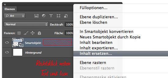 Über das Kontextmenü können Smartobjekte durch externe Dateien ersetzt werden.