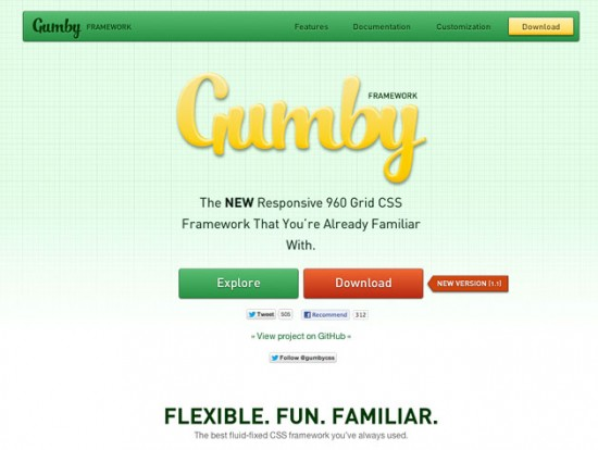 Screenshot der Gumby-Website