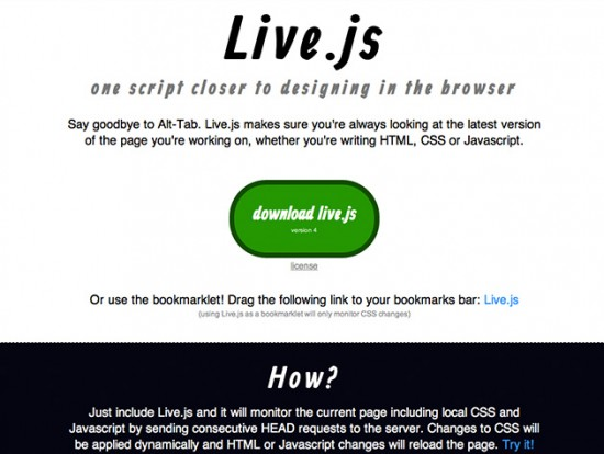 Screenshot von live.js
