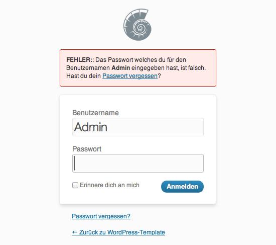Fehlermeldung bei WordPress