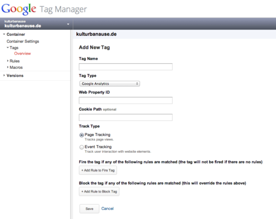 Google Analytics Snippet im Google Tag Manager