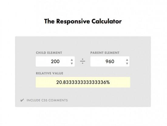 Screenshot des Responsive Calculators