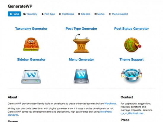 Screenshot von GenerateWP