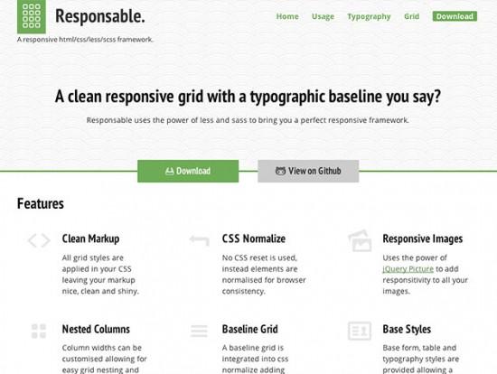 Responsive LESS/SCSS-Framework mit vielen vordefinierten Komponenten