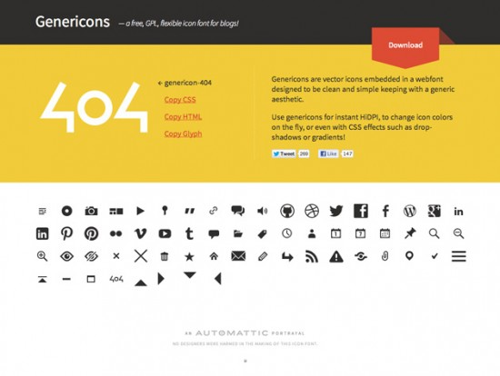 Webfont-Icon-Set von den Machern von WordPress
