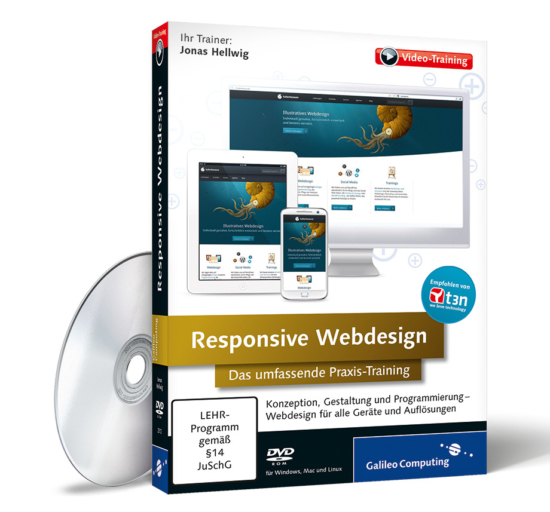 Video-Training zu Responsive Webdesign - Cover und DVD