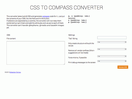 CSS to Compass Converter