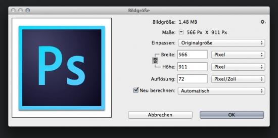 """Neuer """"Bildgröße""""-Dialog in Photoshop CC"""