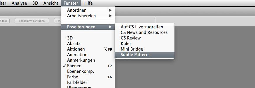 Menüeintrag des Subtle Patterns Plugins innerhalb von Photoshop
