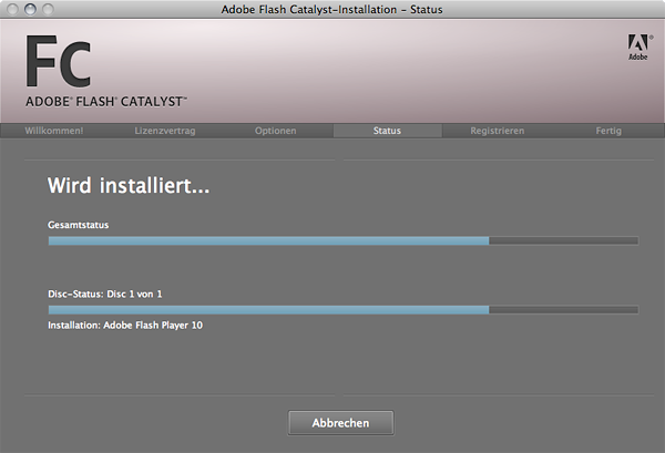 Installation von Adobe Flash Catalyst Public Beta