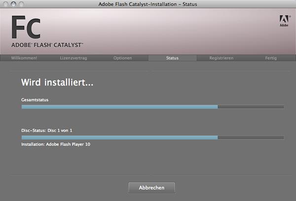 Installation von Adobe Flash Catalyst Public Beta