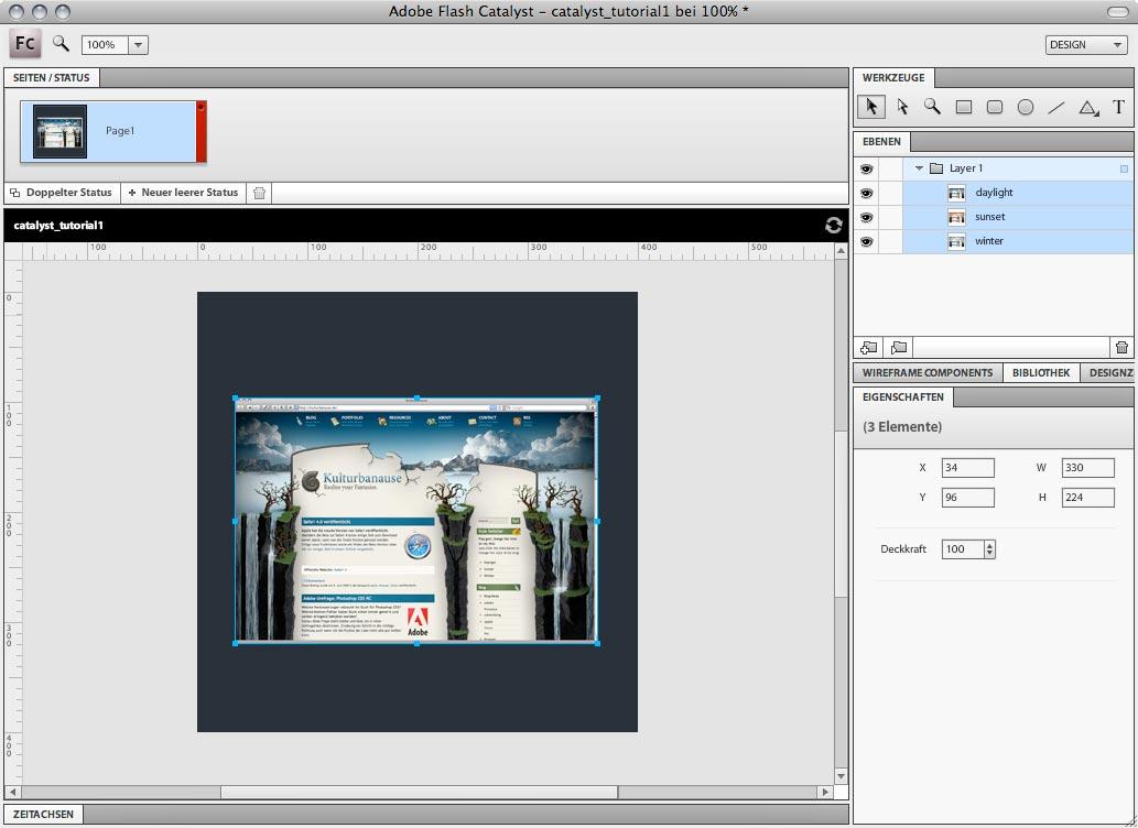 Adobe Flash Catalyst - Dateiansicht nach dem Photoshop-Import