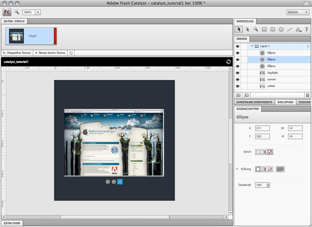 Adobe Flash Catalyst - Mit dem Ellipsewerkzeug erstellte Navigationsflächen