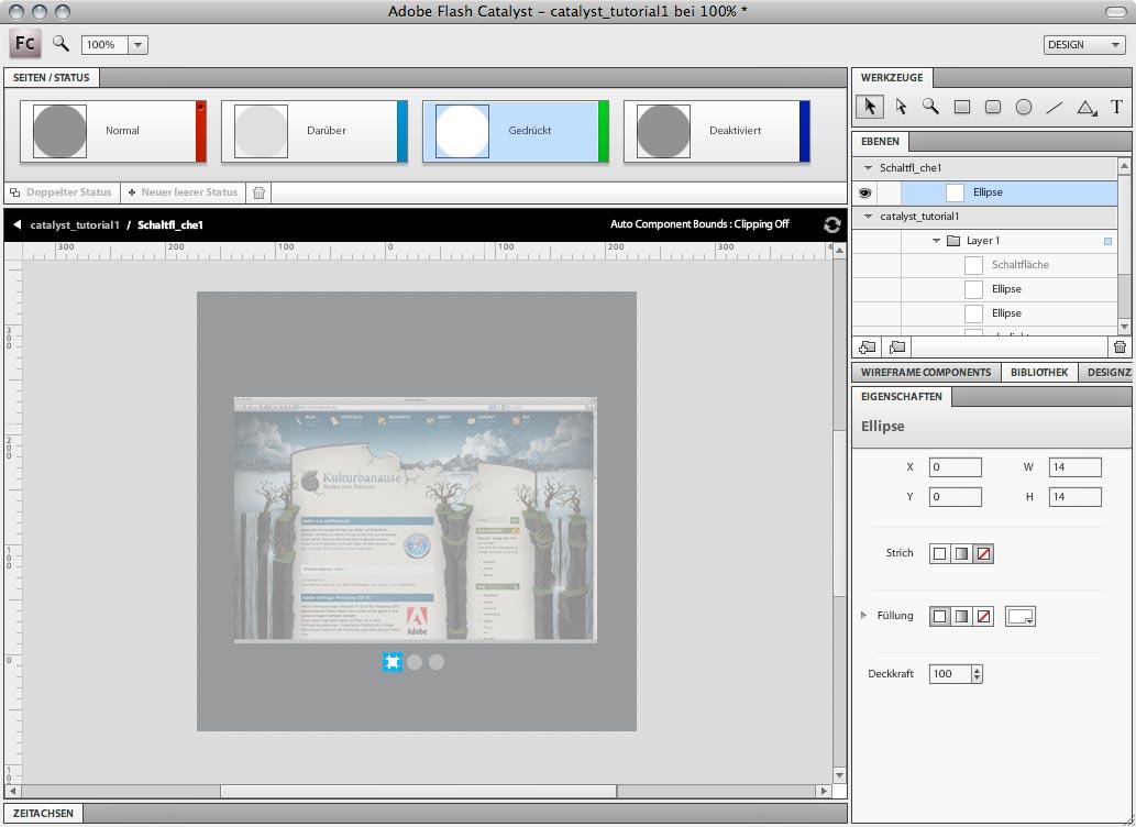 Adobe Flash Catalyst - Verschiedene Stadien von Schaltflächen zu gestalten