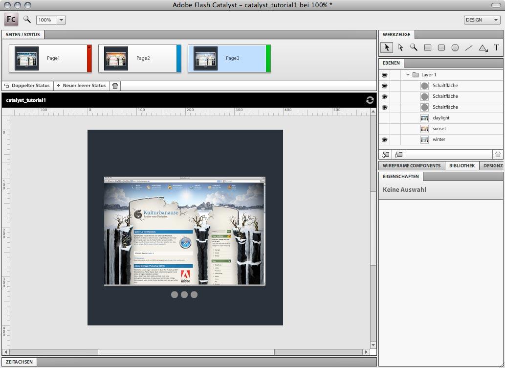 Adobe Flash Catalyst - Seiten erstellen