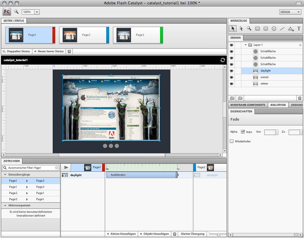 Adobe Flash Catalyst - Glatte Übergänge hinzufügen