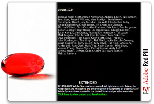 Photoshop CS3 - Red Pill. Hidden Splash Screen