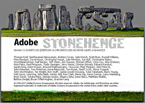 Photoshop CS4 - Stonhenge. Hidden Splash Screen