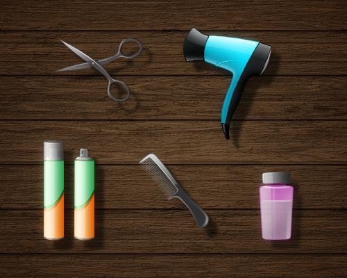 Friseur-Icons: Schere, Fön, Haarspray, Kamm, Creme