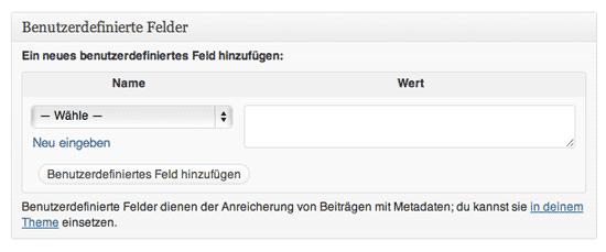Ansicht der Benutzerdefinierten Felder in WordPress