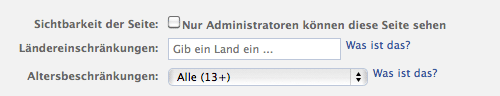 Alterseinstellungen in den Settings einer Facebook-Fanpage