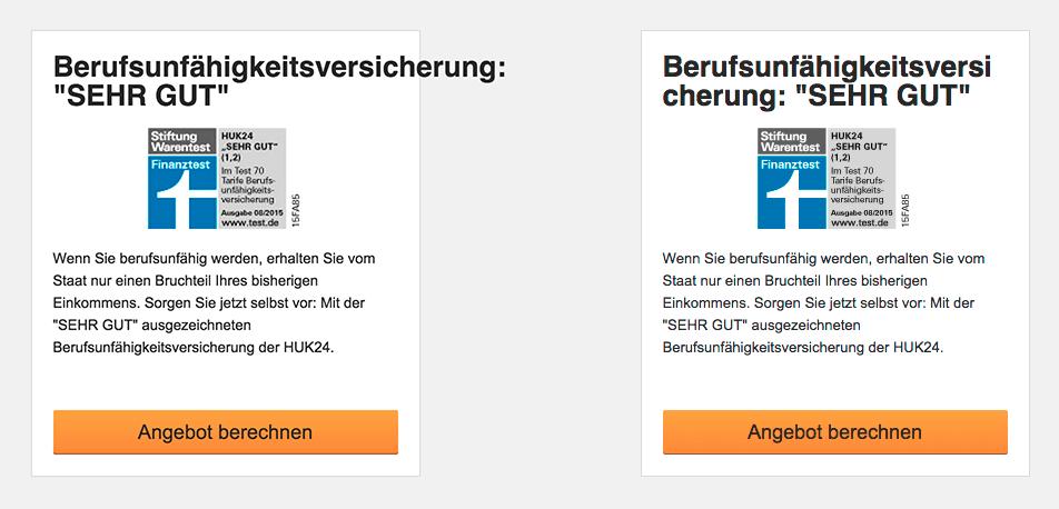 Vorher/Nachher-Effekt der CSS-Eigenschaft am Beispiel der Website von HUK24