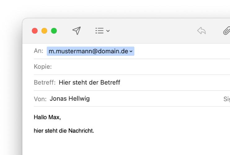 Screenshot einer Mail von Apple Mail mit beispielhaftem Inhalt
