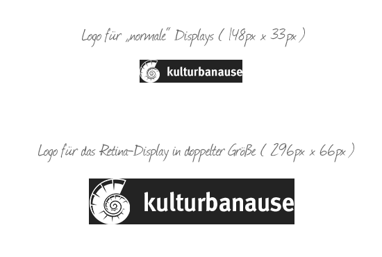 Logo von kulturbanause in normaler und doppelter Größe