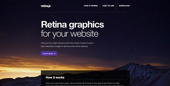 Screenshot der Website zu retina.js