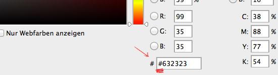 Hashcode im Farbwähler von Photoshop CS6