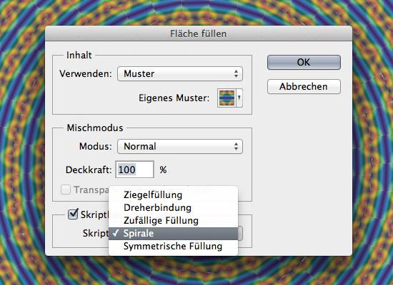 Skriptbasierte Muster in Photoshop CS6 - Beispiel Spirale