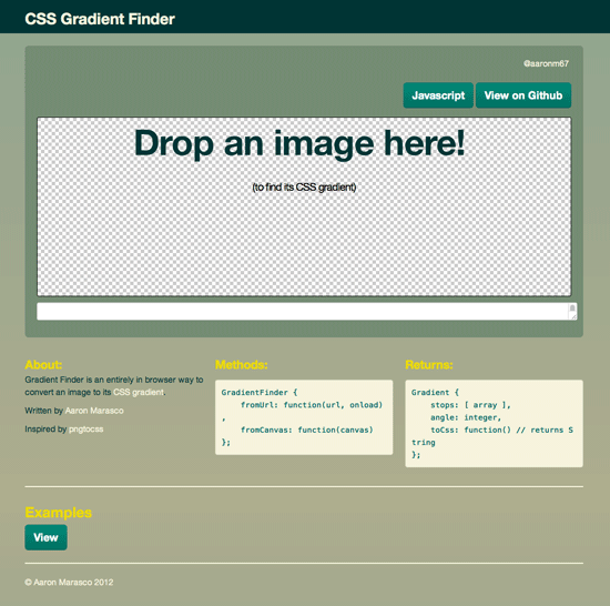 Screenshot des CSS3 Gradient Finders