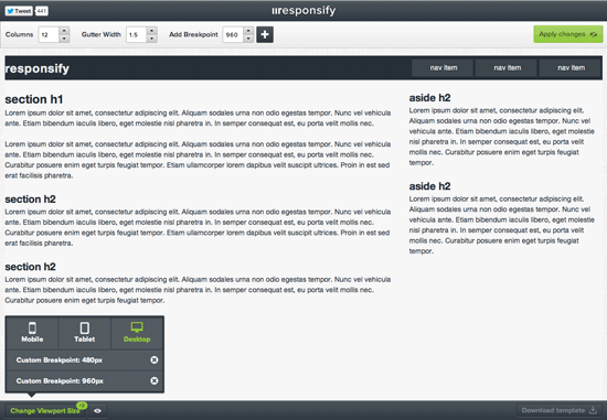 Viewport-Test im Responsive-Grid-Generator