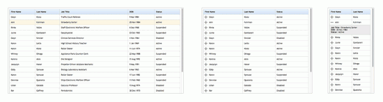 Drei Ansichten der mit FooTable umstrukturierten Demo-Tabelle